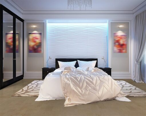taupe leather cork floor modern bedroom with white gypsum 3D panels on the wall led backlight