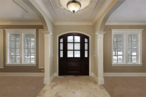 taupe leather cork floor spacious luxury foyer new construction flooring