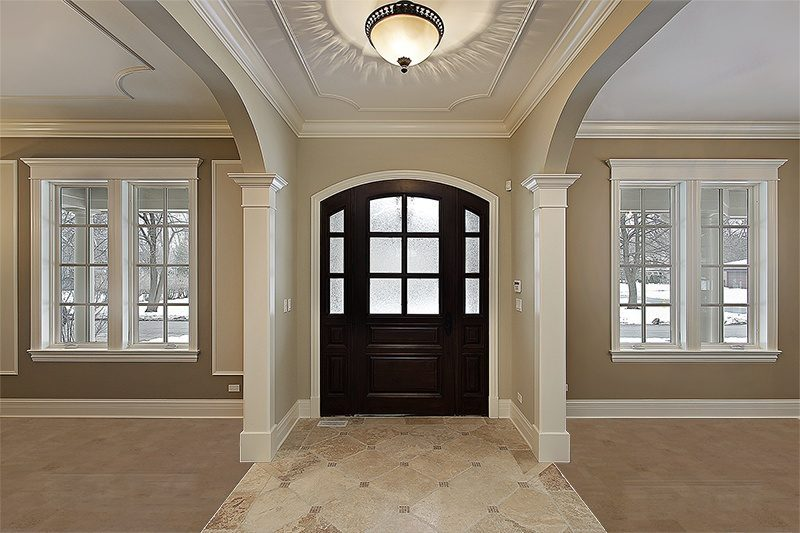 taupe leather cork floor spacious luxury foyer new construction flooring