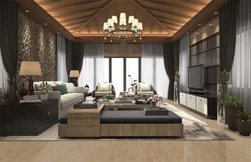 taupe leather forna cork flooring 3d rendering tropical style resort suite living reception and lounge