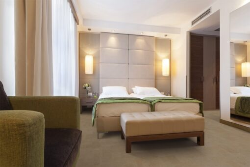 taupe leather forna cork flooring modern hotel bedroom