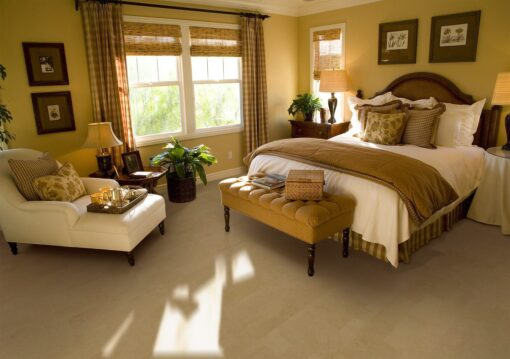 taupe leather forna cork flooring spacious luxury bedroom with lounge area