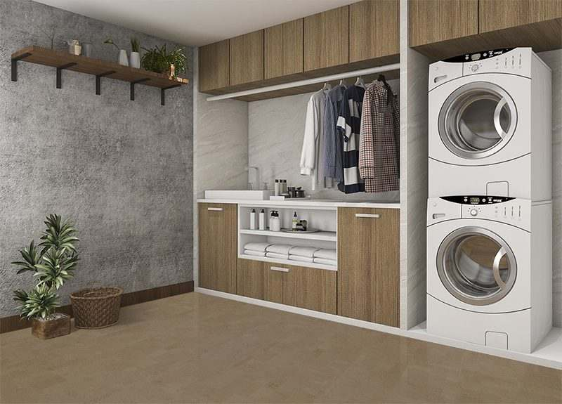 taupe leather laundry room