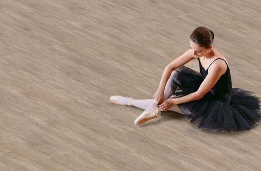 teak fusion cork floor ballerina in black dress trains at hometeak fusion cork floor ballerina in black dress trains at home