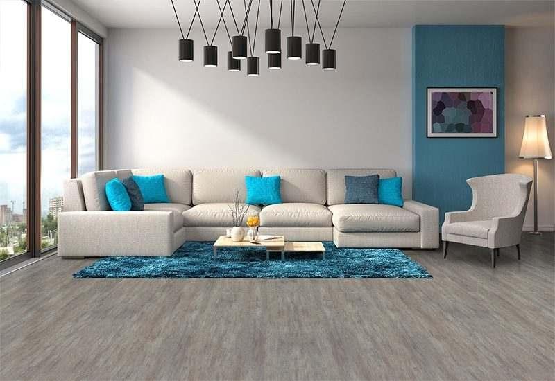 teak fusion cork floor contemporary living room interior design sofa rug