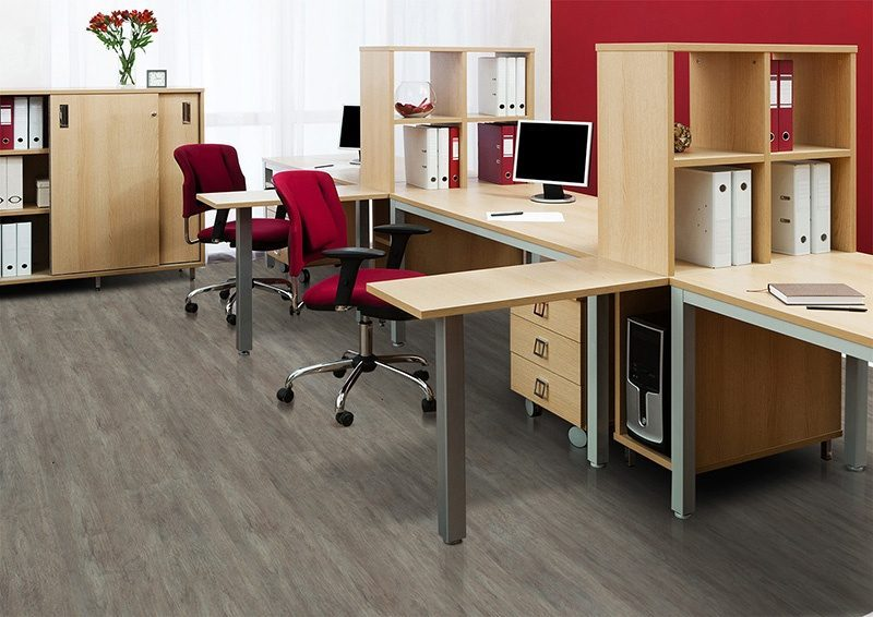 teak fusion forna cork floor computer on desk modern office