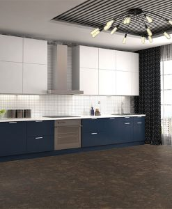 walnut burlwood cork floor kitchen interior d illustration