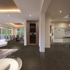 walnut burlwood cork floor living dinnig room interior in dark floor