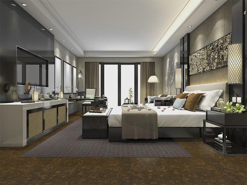 walnut burlwood cork floor sustainable flooring bedroom option