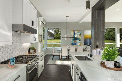 walnut burlwood forna cork floor remodeled kitchen center island