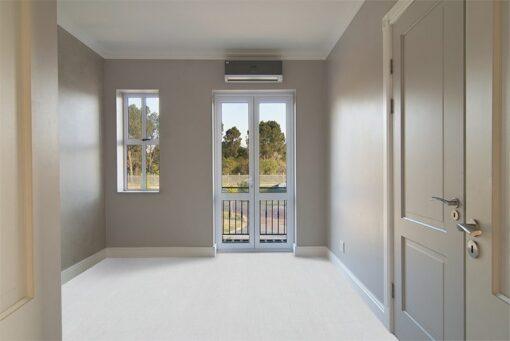 white bamboo cork floor empty bedroom inside modern house