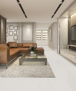 white bamboo cork flooring luxury and modern living room with leather sofa