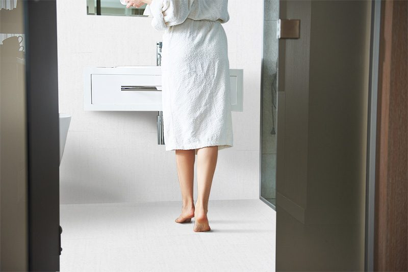 white bamboo cork tiles wall tiles in hotel bathroom barefoot comfortable stand on