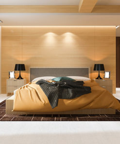 white bamboo luxury and modern bedroom room hotel with cork floor