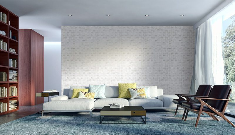 white cubes peel and stick acoustic cork wall panels living room