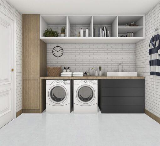 white leather cork flooor 3d rendering wood minimal laundry room