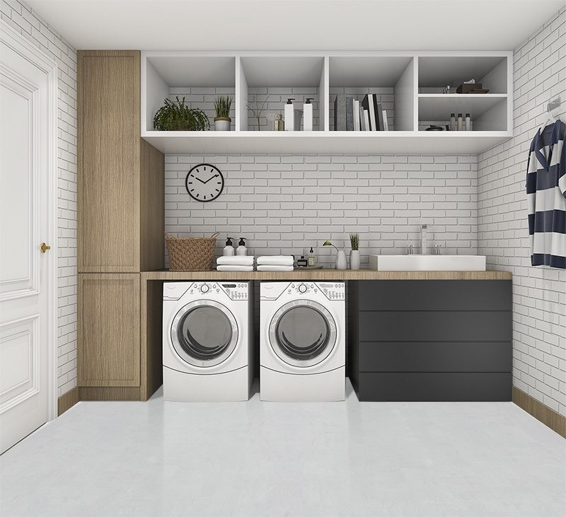 white leather cork flooor 3d rendering wood minimal laundry room