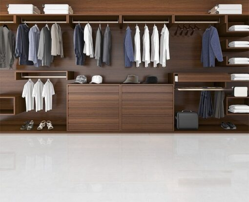 white leather cork floor 3d rendering beautiful wood horizontal wardrobe and walk in closet