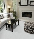 white leather cork floor luxury home living room fireplace stylish