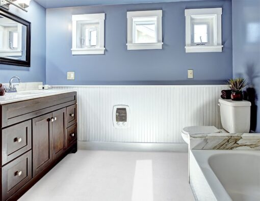 white leather cork tiles in beautiful lavender bathroom with vanity cabinet with drawers and mirror white bath tub