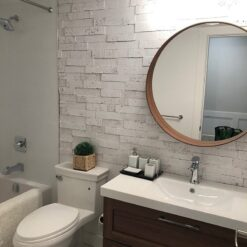 whitewashed brick peel and stick 10mm cork wall tiles soundproof bathroom acoustic design