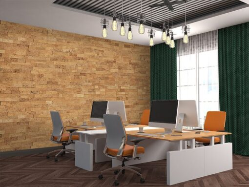 wood brick acoustic self stick cork wall tiles in office meeting room