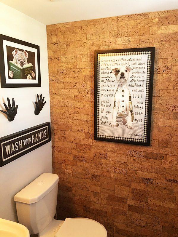 wood bricks cork wall panel tiles washroom powder room natural colour insulation