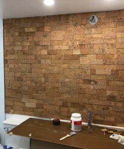 wood bricks cork wall tiles bathroom natural colour insulation