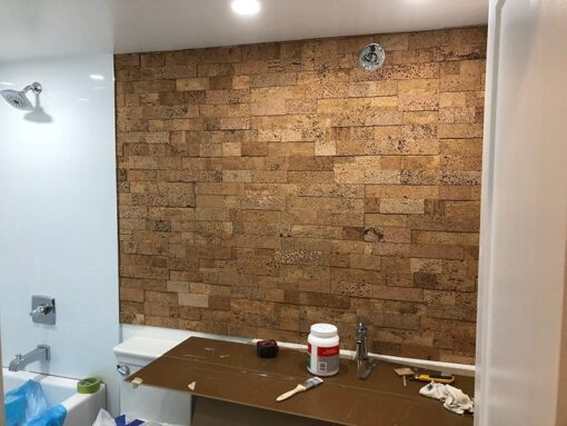 wood bricks cork wall tiles bathroom natural colour insulation