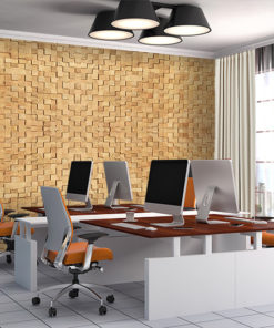 wood cubes cork peel and stick wall tiles acoustic panel office meeting room