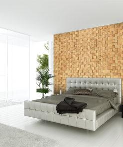 wood cubes cork wall tiles modern bedroom soundproof design